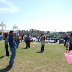 Glimpses of the Kites festival at BAPS temple