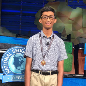 Vishal Sareddy is third place winner at National Geographic Bee