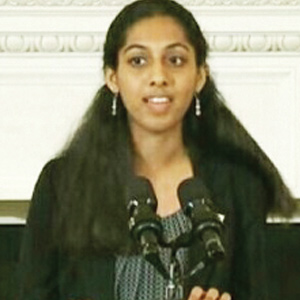 Maya Eashwaran reads her poetry at White House
