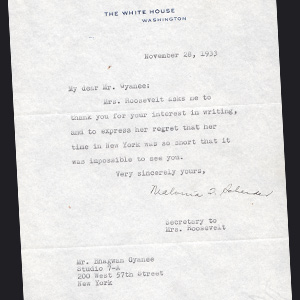 Letter from First Lady Mrs. Roosevelt