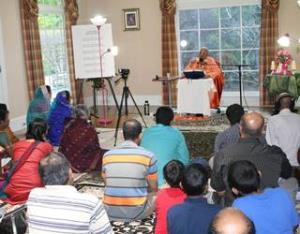Shrila Maharaj gives discourses on the Shrimad Bhagavatam