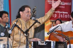 Anup Jalota and Chamunda Swami provide music, mantra, and meditation