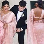 Priyanka steals the show in a saree at Joe-Sophie wedding in France