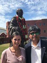 Darleene Rodriguez and Viren Mayani at the Gandhi Statue200.jpg