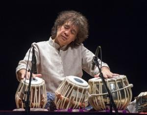 "Ustad Zakir Hussain makes drums speak at the ""Masters of Percussion"" Rialto concert"